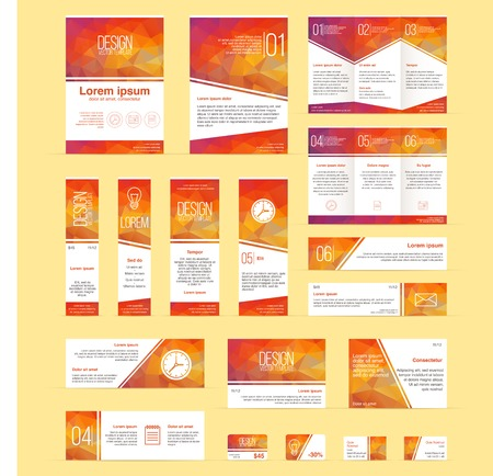 Set of brochures, flyers, banners, business and discount cards and other templates. Infographics elements with colorful abstract polygonal background. Reklamní fotografie - 68870051