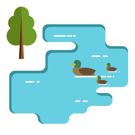 Ducks family swimming in the lake. Flat illustration