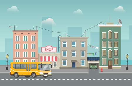 Yellow bus goes around small city with shops and waterfront behind. Cityscape flat vector illustration