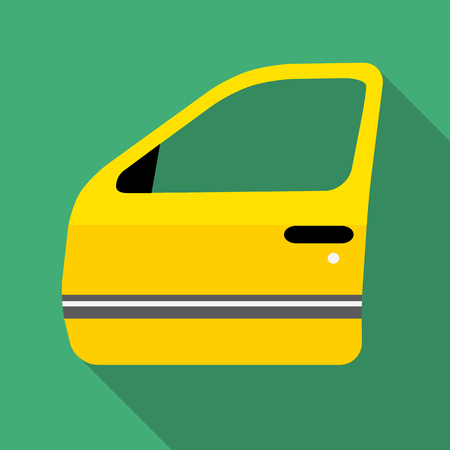 Colorful car door icon in modern flat style with long shadow. Car parts and service vector illustration