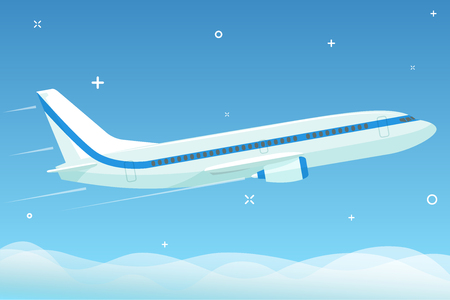 White airplane flies in the night sky with stars under the clouds. Flat vector illustration Ilustrace