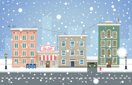 Winter cityscape. Snowfall in small town vector illustration