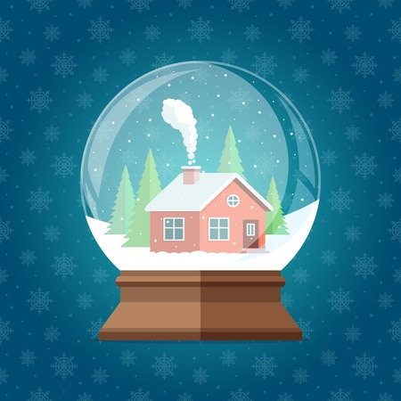 snowglobe: Magic Christmas snow globe vector illustration. Glass snowglobe gift with small house and winter  pine trees forest inside on snowflakes seamless pattern.