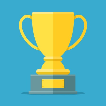 Golden cup for the first place. Golden bowl trophy for the winner. Awards symbol flat vector illustration isolated