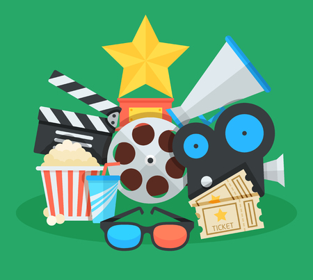 Cinema and movie cartoon illustration. Awards, tickets,  megaphone and other colorful objects flat vector icons collage.