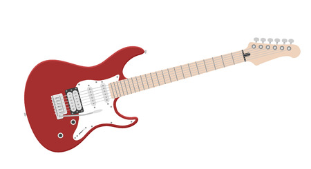 Electric guitar flat vector illustration. Rock music instrument