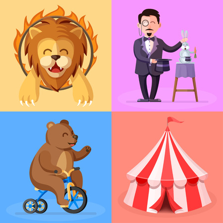 Cute cartoon style set with circus performance actors characters. Trained lion, magician, bear on bicycle and circus tent flat vector illustrations Ilustrace