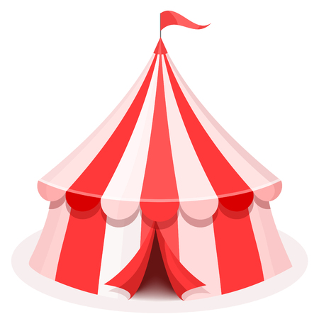 Colorful cartoon circus tent illustration. Flat vector icon Reklamní fotografie - 80227559