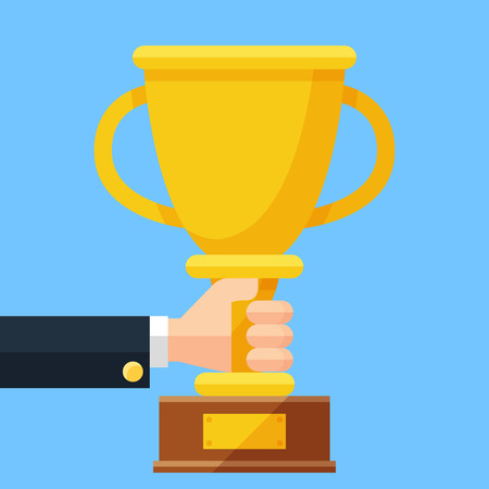 Golden cup in the hand. Business trophy award flat vector cartoon illustration