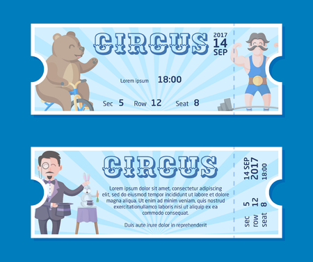 Cute circus ticket templates with happy bear on bicycle, strong man and mysterious magician illusionist with his magic hat and trained rabbit. Miraculous circus show flat vector cartoon illustration.