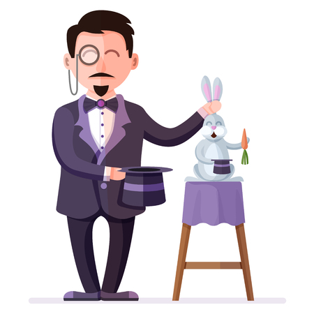 Magician holding trained rabbit with carrot and  magic hat. Retro style circus illusionist. Colorful vector illustration of circus performance magic show with flat cartoon characters.
