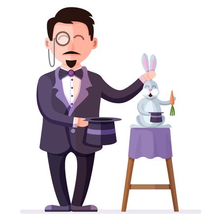 Mago que sostiene el conejo entrenado con la zanahoria y el sombrero mágico. Ilusionista de circo de estilo retro. Ilustración de vector colorido de espectáculo de magia de circo con personajes de dibujos animados planos.