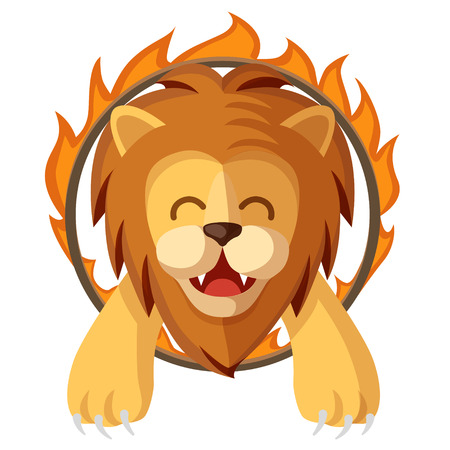 Colorful cartoon trained lion jumping through the fire ring. Circus magic show happy and cute lion character flat vector illustration.