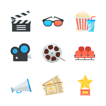 Cinema and movie vector icons set in cartoon flat style. Colorful design elements illustration.
