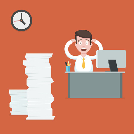 Stressed businessman at the desk has a lot of work. Hard office work flat vector illustration. Cartoon office  employee character with stack of paper working at the computer