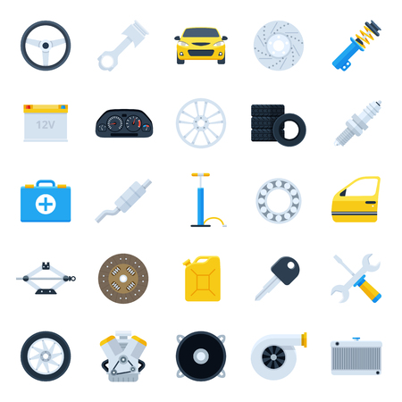 Car service cartoon icons set. Repair and maintenance Illustration. Colorful flat vector illustrations of exhaust, clutch, engine, suspension, tires and other car parts.