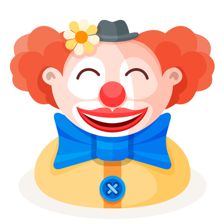Colorful cartoon happy cute redhead clown character in funny small hat with flower, big bow and red nose. Circus show artist flat vector illustration.