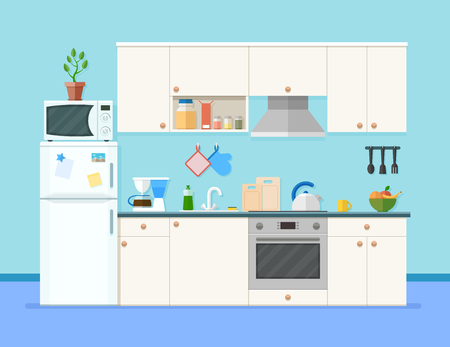 Kitchen interior with furniture.Shelves with spices and fruits. Microwave oven, fridge, coffee machine and other equipment, cookware and accessories for cooking. Cartoon flat style vector illustration Reklamní fotografie - 80227569