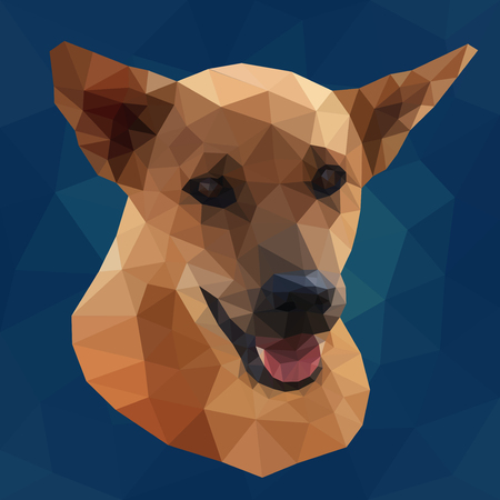 Low poly design. Colorful geometric vector illustration of polygonal dog Vettoriali