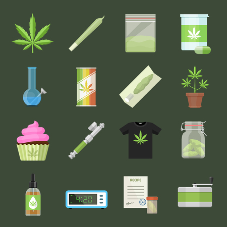 Marijuana equipment and accessories for smoking, storing and growing medical cannabis. Colorful ganja rastafarian vector icon set in cartoon flat style Ilustrace