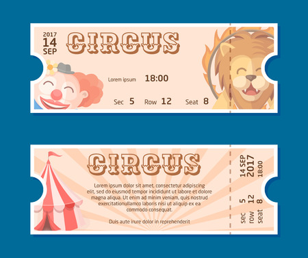 Circus show entrance tickets template.Colorful horizontal vector pass in cartoon flat style with trained lion, clown and circus tent. Front and back side of ticket illustration