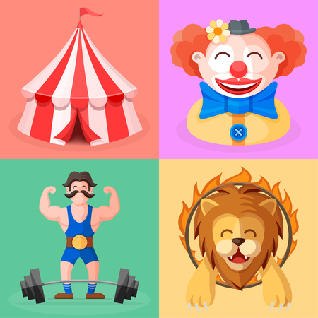 Circus performance show. Illustrations of actors and circus tent. Funny clown, mighty strong man, fearless brave trained lion jumping through fire ring. Cute colorful characters in cartoon flat style