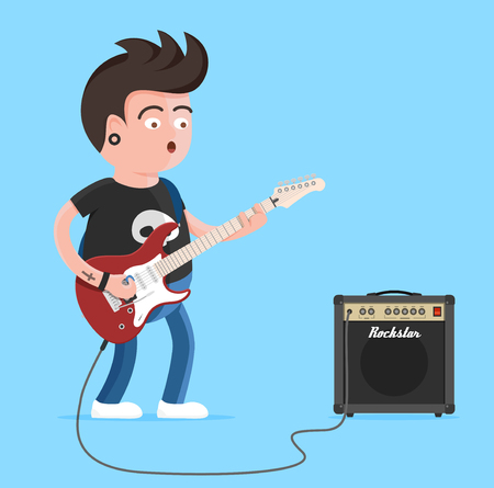 Young man character singing and playing the electric guitar. Punk rock star with guitar and amplifier. Vector illustration of young musician with tattoo and piercing Illustration