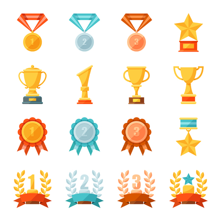 Cartoon business and sport awards and trophy illustration set, Colorful flat vector icons of golden, bronze and silver medals, cups, and bowls, Prize and achievement concept. Ilustrace