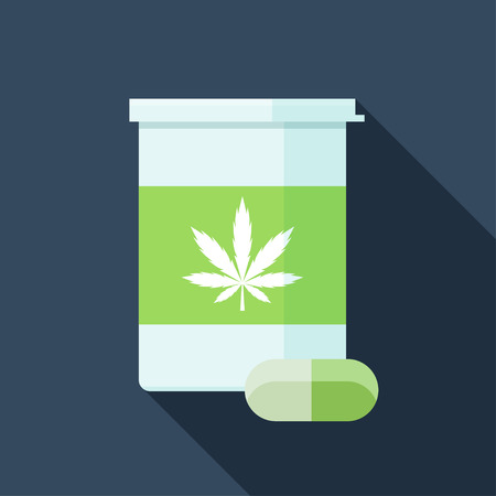 Flat vector icon of bottle with medical marijuana pills. Cannabis medications colorful illustration