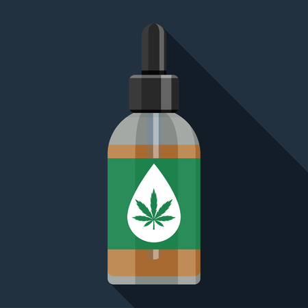 Flat vector icon of bottle with medical marijuana cannabis hemp oil. Colorful illustration