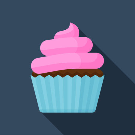 Flat vector icon of cupcake with pink cream. Sweet dessert colorful illustraation.