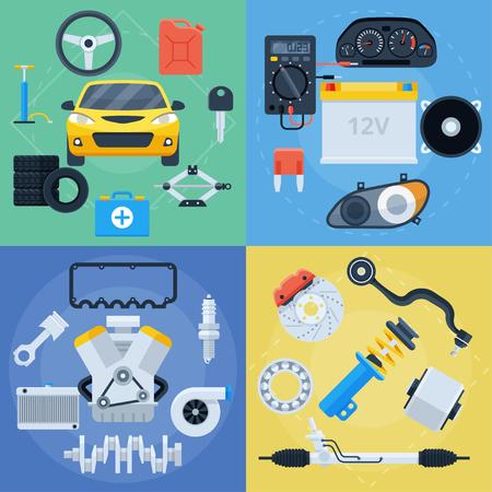 Große Reihe von Autoreparatur- und Ersatzteilsymbolen. Elektronik, Motor, Bremsen, Reifen und alles für die Autopflege. Flache bunte Vektorgrafiken