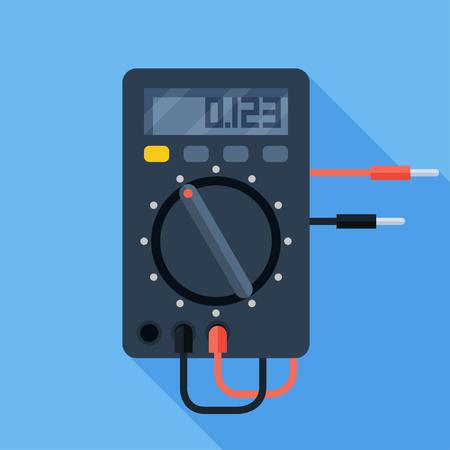 Vector illustration of digital electric multimeter. Measuring device voltmeter colorful flat icon