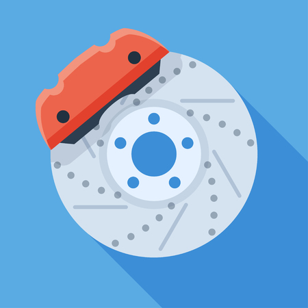 Vector brake disk with caliper icon. Colorful car parts illustration in flat style