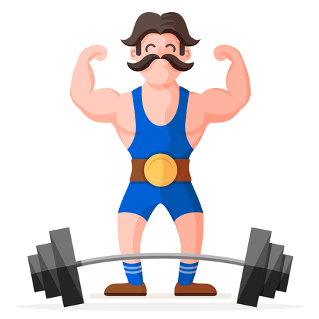 Retro style circus strong man with mustache character with heavy metal barbell. Funny muscular bodybuilder colorful cartoon flat vector illustration Reklamní fotografie - 123897110