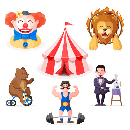 Funny colorful circus characters set in cartoon flat style. Strong man, clown, bear on bicycle, magician, trained lion jumping through the fire ring and circus tent illustration. Illusztráció