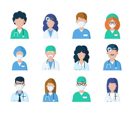 Doctors, nurses and medical staff in uniform avatars isolated on white background. Set of medicine professionals characters. Healthcare flat vector illustration. Hospital employees userpic icons.