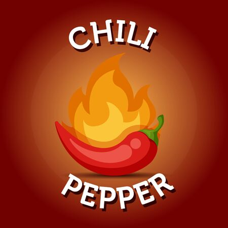 Red and hot chili pepper with flame colorful illustration. Flat vector spicy jalapeno logo icon Illustration