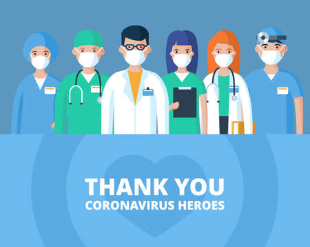 Thank you doctors, nurses and other medical staff. Hospital employees fight the spread of the coronavirus pandemic. Flat  characters illustration. Ilustracja