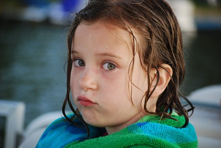 pouting after swimming Stock Photo