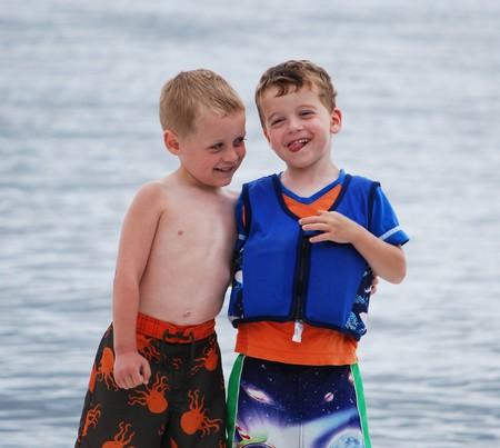 buddies on the dock Stock Photo