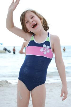 waving on the beach Stock Photo