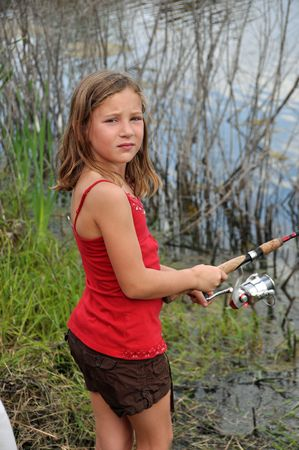 a little girl spends some time fishing photo