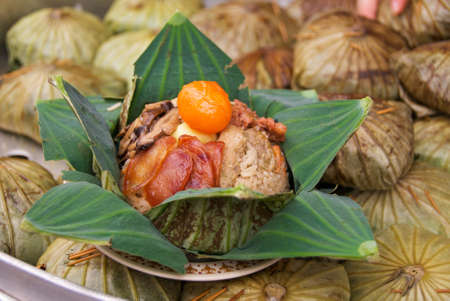fried rice in lotus leaf Stock Photo