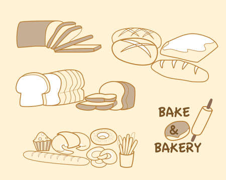 bake: various types of bake and bakery Illustration