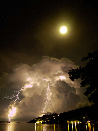 thunderbolt at night on the sea with cloudy sky photo