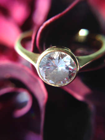 dimond: dimond ring on red rose background Stock Photo