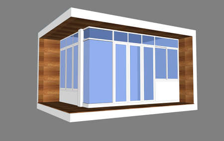 pavillion: 3D modern style pavillion with glass box facade