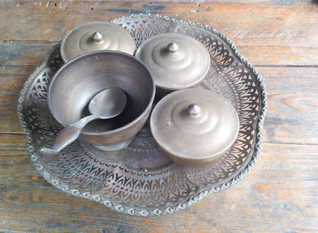 wares: Old brass tray or suit of food wares