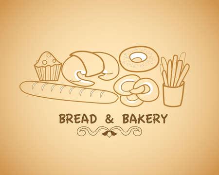 bake: various types of bake and bakery Illustration